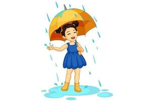 schattig klein meisje met paraplu genieten van regen vector