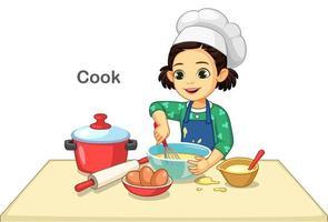 klein meisje koken