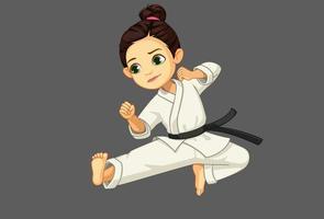 schattig klein karate meisje in karate pose