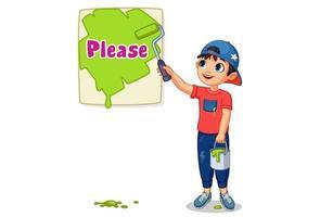 schattige jongen die een bord met tekst alsjeblieft schildert vector