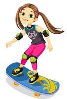 klein meisje op een skateboard