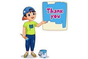 schattige jongen die een bord van dank u schildert vector
