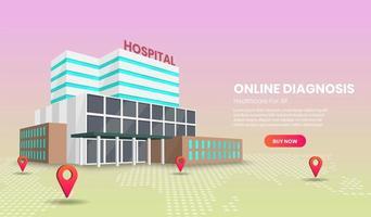 online medische diagnose en behandeling vector