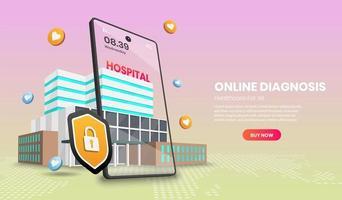 webpagina van online diagnose vector