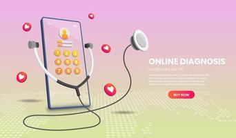 online diagnose met telefoon vector