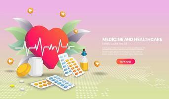 geneeskunde en gezondheidszorg met gigantisch hart vector