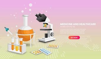 webpagina-ontwerpsjablonen van geneeskunde en gezondheidszorg vector