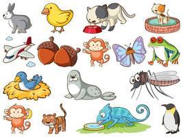 grote reeks dieren in het wild met veel soorten dieren