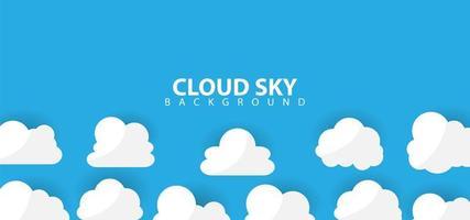 witte cartoon stijl wolken op blauw vector