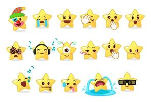 verzameling van verschillende emoticons van schattige ster vector
