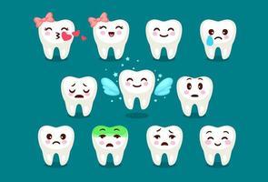 set van schattige tanden emoji en emoticons vector