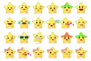 verzameling van verschillende emoticons van schattige ster