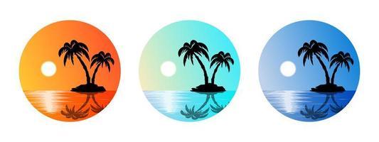 set zomer etiketten strand, palmbomen, zonsondergang