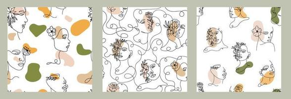 een lijntekening gezicht met vormen naadloze patronen