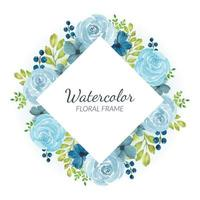aquarel blauw roze bloemen grens vector