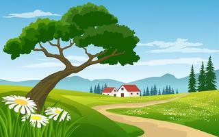 prachtig landschap platteland met boerderij vector