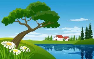 plattelandsscène met landbouwbedrijf dichtbij stroom