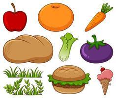 groot aantal verschillende soorten voedsel en andere items op wit vector