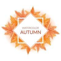handgeschilderde aquarel herfst grens met esdoorn bladeren