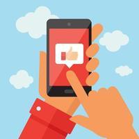 mobiele telefoon met als symbool op blauwe hemel vector