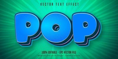blauw pop-artstijl bewerkbaar teksteffect vector