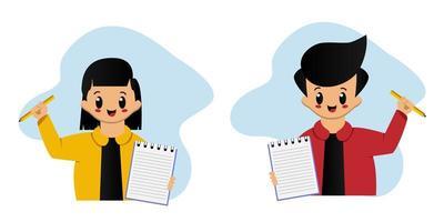 gelukkig meisje en jongen met notitieboekje en potlood vector