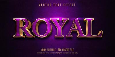 koninklijk paars en glanzend goud omtrek bewerkbaar teksteffect