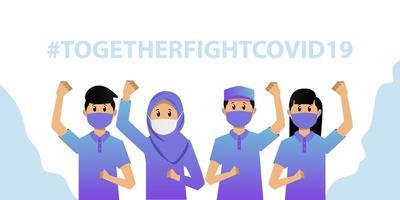 vecht samen tegen covid 19 banner met gemaskerde mensen vector