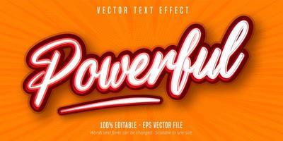 wit en rood krachtig bewerkbaar teksteffect in pop-artstijl vector