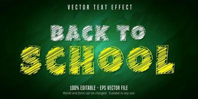 terug naar school bewerkbaar teksteffect in krijtstijl vector
