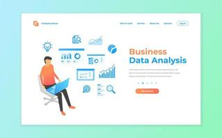 bedrijfsgegevensanalyse voor website en mobiele bestemmingspagina vector