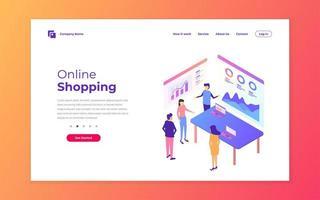 ontwerp van bestemmingspagina's voor online winkelen vector