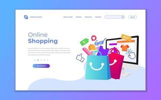 bestemmingspagina-sjabloon voor online winkelen vector