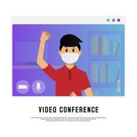 jonge gemaskerde jongen op videoconferentie
