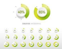 procentuele diagrammen met groene gradiënt en witte cirkel vector