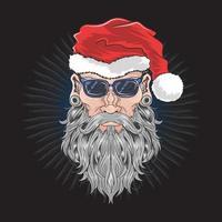 vooraanzicht van de kerstman met zwarte bril