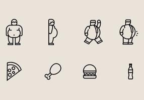 Dikke man iconen vector