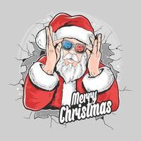 de kerstman springt uit de muur terwijl hij een bril opzet