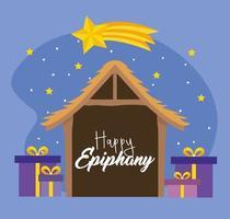 kribbe met presets voor epiphany-viering vector