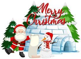 kerstthema met kerstman en sneeuwpop vector