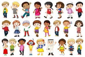 grote groep kinderen die verschillende activiteiten doen vector