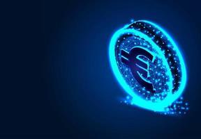 euromunt op donkerblauwe achtergrond vector