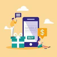 mini-mensen met smartphone en online winkelen vector