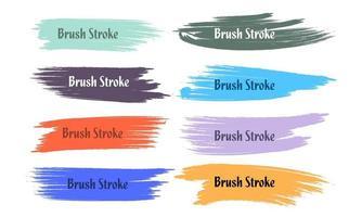 acht abstracte kleurrijke grunge penseelstreek set
