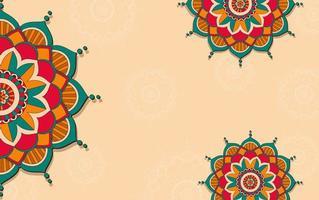 achtergrond sjabloon met kleurrijke mandala's vector