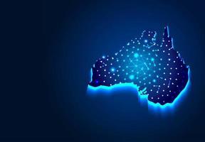 Australische kaart op donkere achtergrond vector