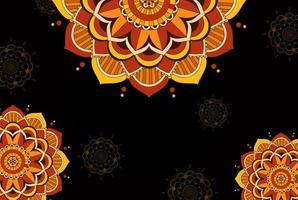 zwart, oranje achtergrondmalplaatje met mandalapatroon vector