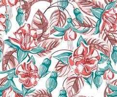 tropisch, bloemen, naadloos patroon