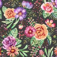 aquarel, bloemen, naadloze patroon
