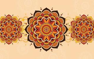 oranje achtergrondontwerp met mandalapatronen vector